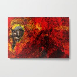 Face in the fire Metal Print
