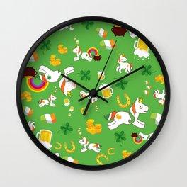 St. Patrick's Day Unicorn Pattern Wall Clock