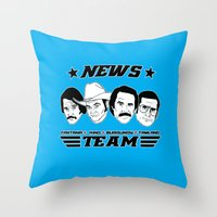 anchorman Throw Pillows featuring news team - the anchorman by Buby87