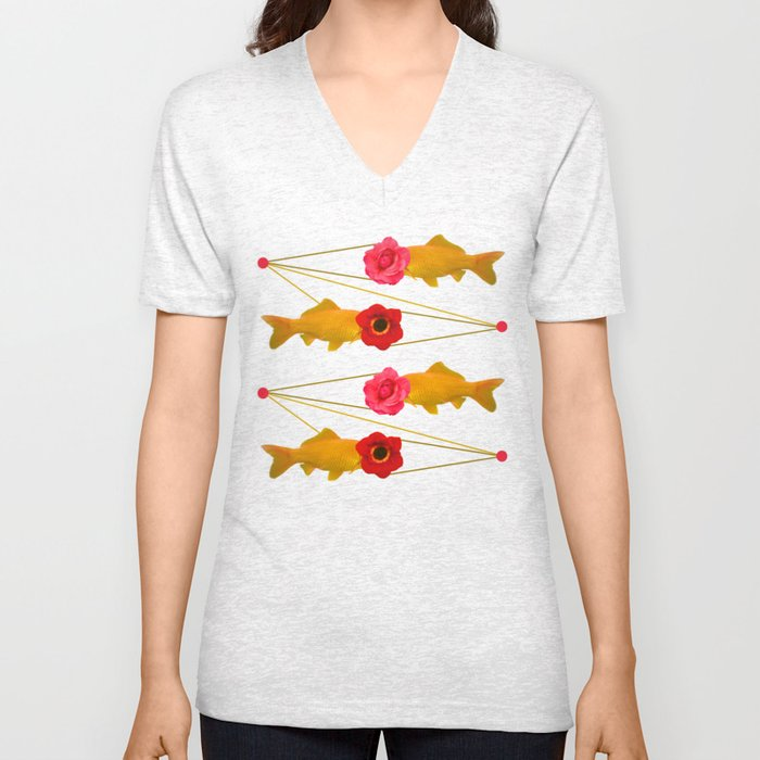 fishes and flowers Unisex V-Neck