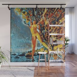 3585s-HS Lake Superior Nude Woman on Rocky Shore Impressionistic Rendering Wall Mural