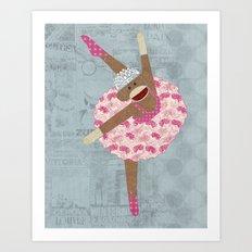 Sock Monkey Ballerina Art Print