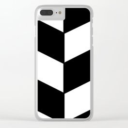 2017 COLLECTION|BLACK AND WHITE |DIAGONAL STRIPES Clear iPhone Case