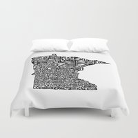 minnesota Duvet Covers featuring Typographic Minnesota by CAPow!