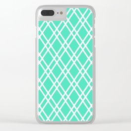 Menthol green and white rhombus lines pattern Clear iPhone Case