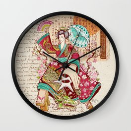 Geisha Dragon Dress Wall Clock