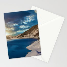 Swiss Alpine Winter Sunset Stationery Cards