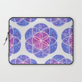 Watercolor Seed Of Life - Purple Tones Laptop Sleeve