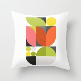 Mid Modern Geo Bloom on white  Throw Pillow