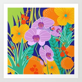 Orchid Fantasy Illustration, Tropical Colourful Orchids Art Print
