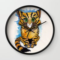 kitten Wall Clocks featuring Kitten by SilviaGancheva