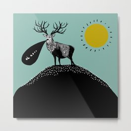 A Regretful Stag on a Stubbly Hill on a Sunny Day Metal Print