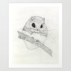 Fuzzball-white Art Print