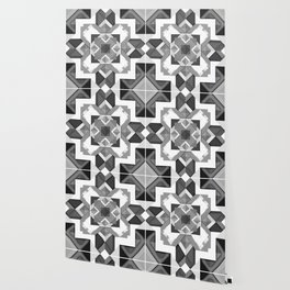 Black and White Geometric Geometry Mandala Diamond Square Pattern Graphic Wallpaper