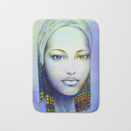 Creole African Girl Portrait Hand Drawing  Bath Mat
