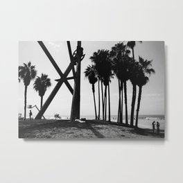 Venice Beach Black And White Metal Print