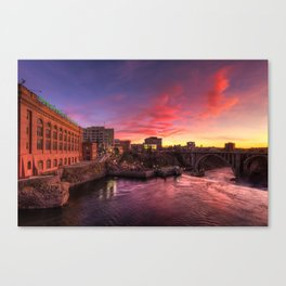 Monroe Bridge Sunset View Canvas Print
