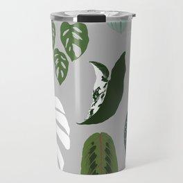 Leaves composition 2 gray background Travel Mug