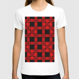 Oriental pattern of intersecting red squares and curly crosses on a black background. T-shirt
