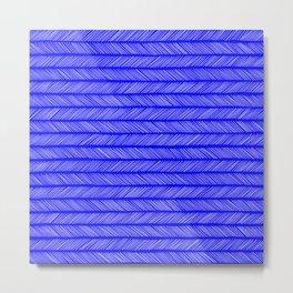 Cobalt Blue Small Herringbone Metal Print