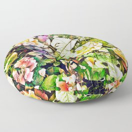 Scattered Blooms And Verdure Floor Pillow