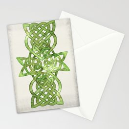 Celtic Knot:  Green Watercolor with complex form - Ireland - traditional folk art Stationery Cards