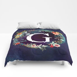 Personalized Monogram Initial Letter G Floral Wreath Artwork Comforters
