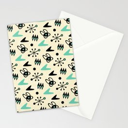 Mid Century Modern Atomic Boomerang Pattern Turquoise 104 Stationery Cards