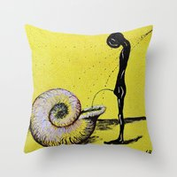 pee wee Throw Pillows featuring pee by sewec