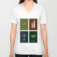 the lord of the rings V-neck T-shirts featuring Lord of the Rings - Complete Minimalist Collection by Jamesy