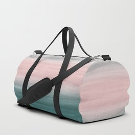 Touching Teal Blush Gray Watercolor Abstract #1 #painting #decor #art #society6 Duffle Bag