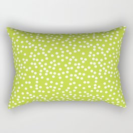 Lime Green and White Polka Dot Pattern Rectangular Pillow