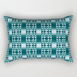 Fresh and Bright Aztec Pattern Deep Ocean Wave Seafoam Aqua Rectangular Pillow