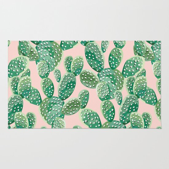 Green Cactus On The Pink Background Rug By Anyuka
