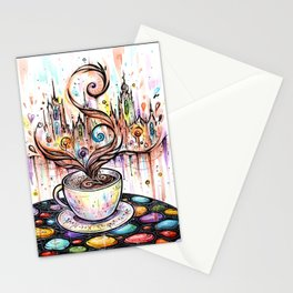 Magic cup of coffee ~ watercolor Stationery Cards