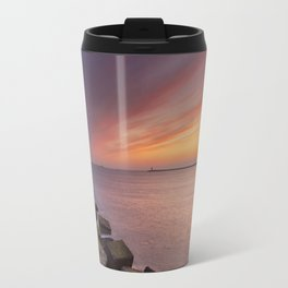 I - Sunset over harbour entrance at sea in IJmuiden, The Netherlands Travel Mug