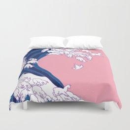 Llama Waves in Pink Duvet Cover