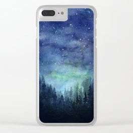 Watercolor Galaxy Nebula Northern Lights Painting Clear iPhone Case