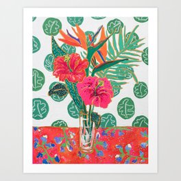 Tropical Hibiscus Bouquet Art Print