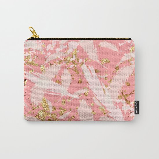 Feather peacock peach gold #9 Carry-All Pouch
