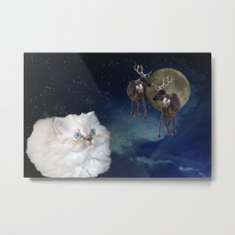 Cat and Reindeers Metal Print