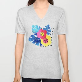 Watercolor tropical bloom Unisex V-Neck