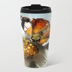 Butterfly on flower 12 Metal Travel Mug