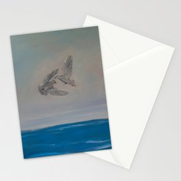 Love and Peace of Two Doves Flying Stationery Cards