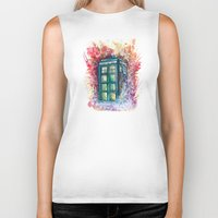 doctor Biker Tanks featuring Doctor Who Tardis by Jessi Adrignola