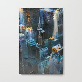 Gilded Digital Cityscape Metal Print