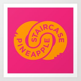 Pineapple Staircase     Official Logo in Pink/Orange Art Print