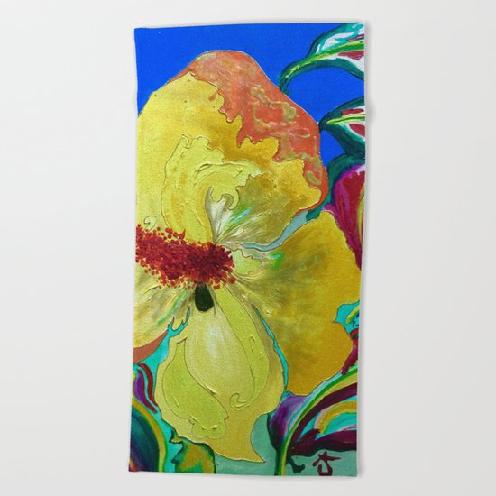 Birthday Acrylic Yellow Orange Hibiscus Flower Painting with Red and Green Leaves Beach Towel