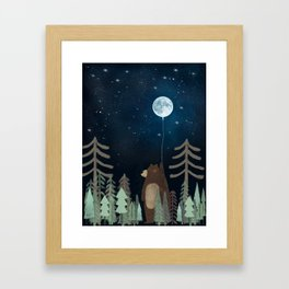 the moon balloon Framed Art Print