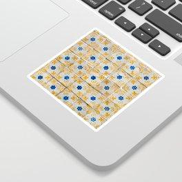 Azulejos Tiles, yellow, white and blue Sticker